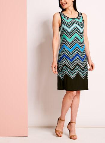 Graphic Zig Zag Print Trapeze Dress, , hi-res
