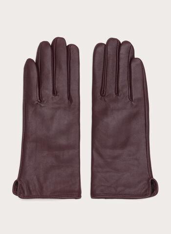 Faux Fur Leather Gloves, Red, hi-res