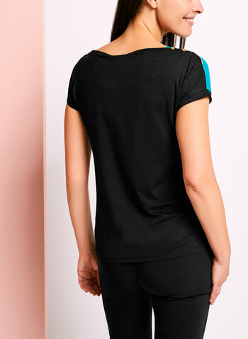 Stripe Print Button Trim T-Shirt, , hi-res