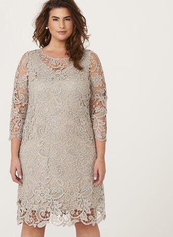 Metallic Lace Shift Dress, , hi-res
