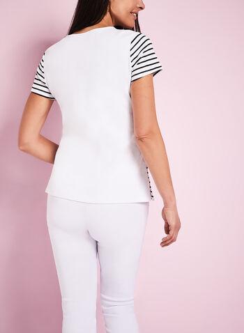 Stripe Print Scoop Neck T-Shirt, , hi-res
