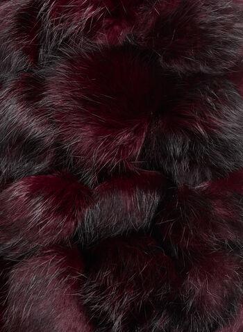 Rabbit Fur PomPom Scar, Red, hi-res