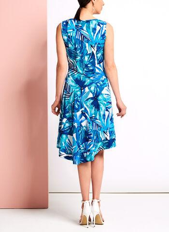 Palm Print Asymmetric Midi Dress, , hi-res