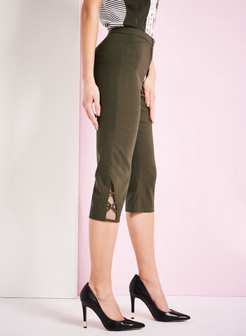 Signature Fit Bengaline Capri Pants, Green, hi-res
