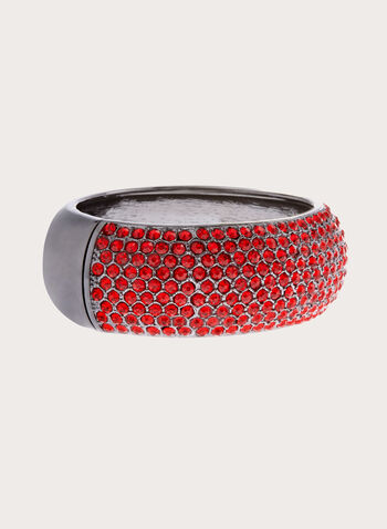 Crystal Encrusted Metallic Bangle, Red, hi-res