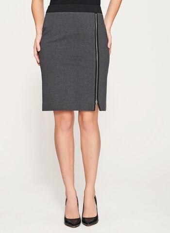 Zipper Front Ponte Skirt, , hi-res