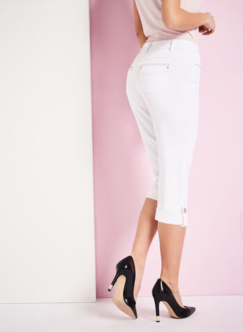 Modern Fit Crystal Detail Capri Pants, White, hi-res