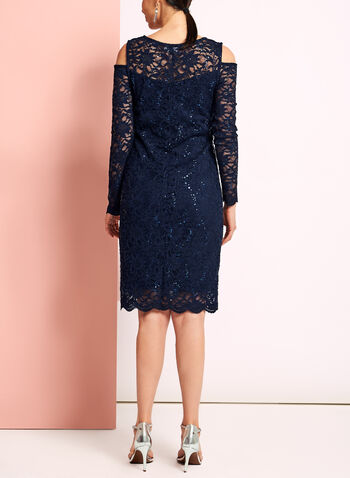 Sequin Lace Cold Shoulder Dress, , hi-res