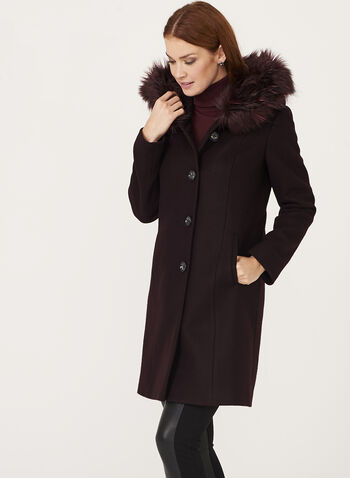 Hooded Wool Like Coat, , hi-res