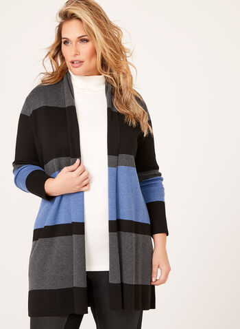 Stripe Knit Open Front Cardigan, , hi-res