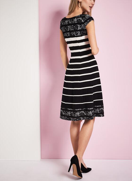 Stripe & Lace Print Cotton Dress, Black, hi-res