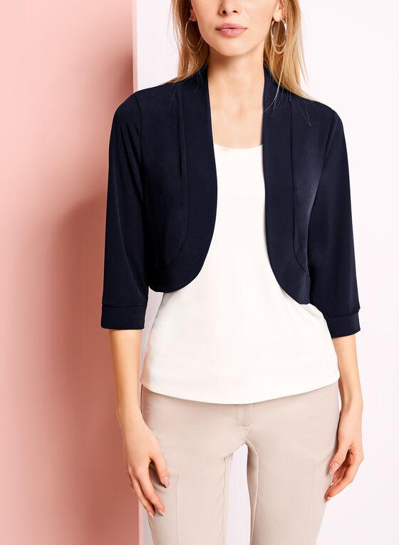 3/4 Sleeve Jersey Bolero, Blue, hi-res