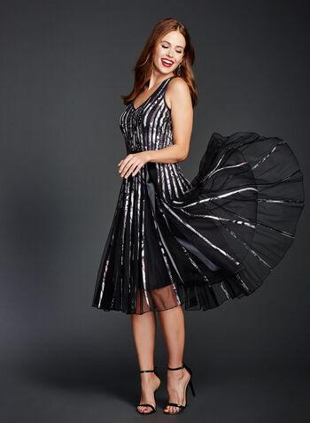 Printed Satin Stripe Midi Dress, , hi-res