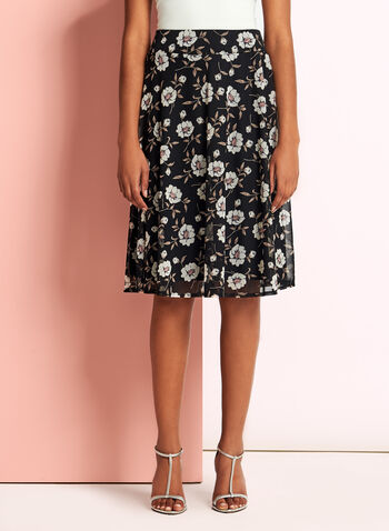 Floral Print Flared Trapeze Skirt, , hi-res