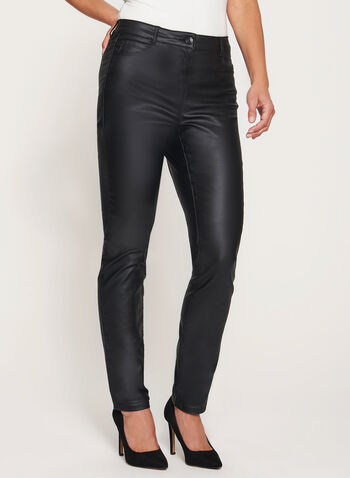 Modern Fit Slim Leg Faux Leather Pants, , hi-res