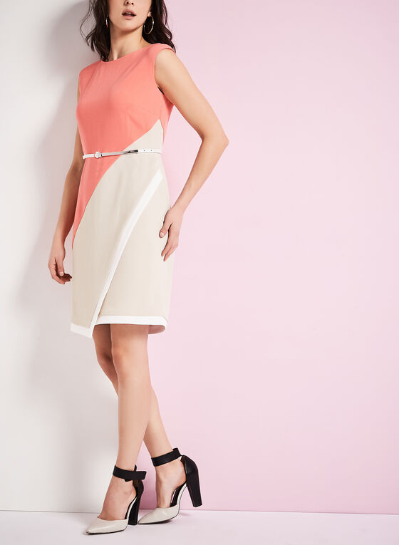 Colour Block Belted Crêpe Dress, Orange, hi-res