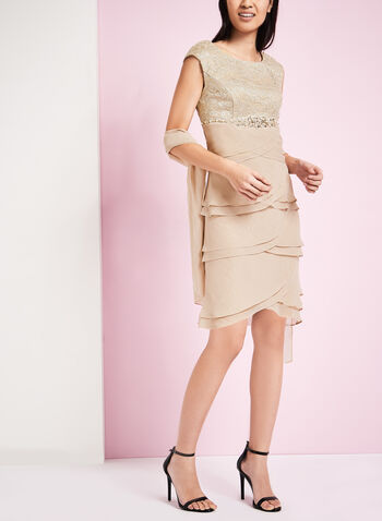 Lace & Chiffon Dress with Scarf, , hi-res
