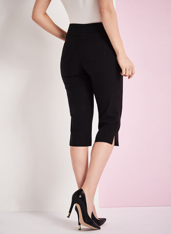 Modern Fit Straight Leg Capris, Black, hi-res
