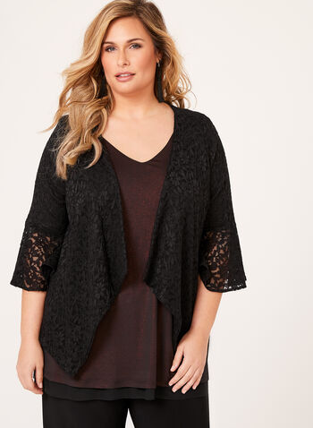 3/4 Sleeve Lace Jacket, , hi-res