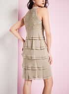 Tiered Beaded Bodice Dress, Off White, hi-res
