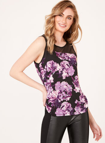Floral Print Sleeveless Blouse , , hi-res