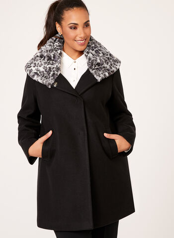 Novelti - Leopard Print Trimmed Wool Like Coat, , hi-res