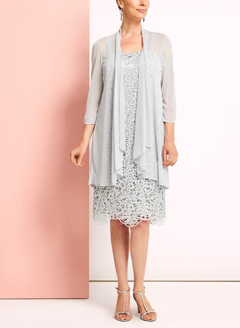 Textured Lace Dress with Cardigan, , hi-res