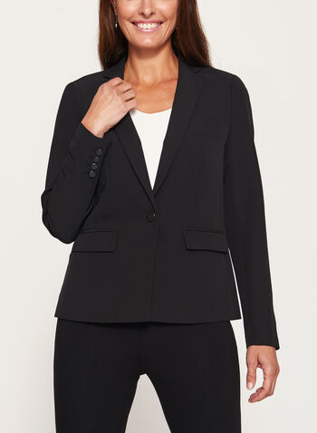 One-Button Notch Collar Blazer, , hi-res