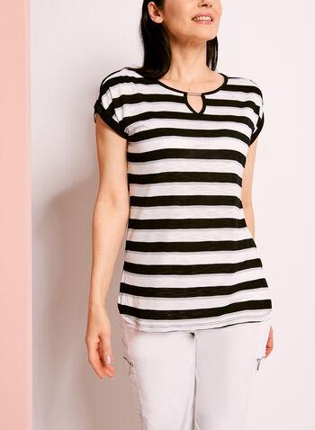 Stripe Print Keyhole T-Shirt, , hi-res