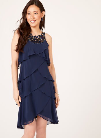 Beaded Yoke Tiered Chiffon Dress, , hi-res