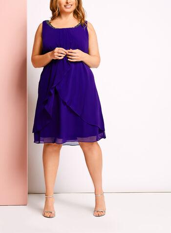 Embellished Tuck Neck Chiffon Dress, , hi-res