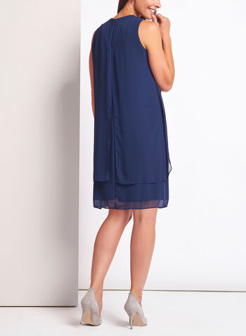 Pearl Cluster Chiffon Cutout Dress, , hi-res