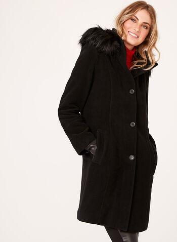 Manteau en laine et cachemire avec capuchon amovible, , hi-res