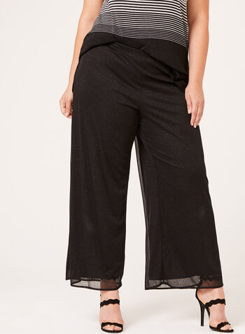 Chiffon Wide Leg Pull-On Pants, , hi-res
