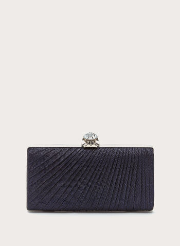 Metallic Pleated Box Clutch, , hi-res