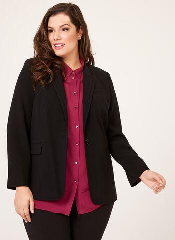 Louben - Single Button Stitched Collar Blazer, , hi-res