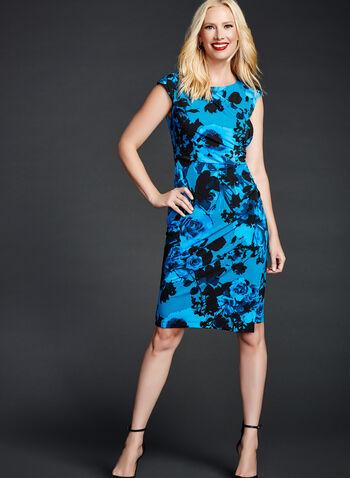 Floral Print Faux Wrap Dress, , hi-res