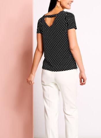 Zipper Trim Dot Print T-Shirt, , hi-res
