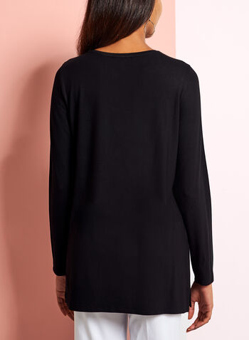V-Neck Long Sleeve Top, Black, hi-res
