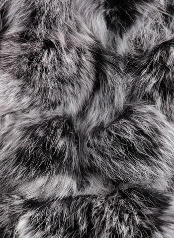 Rabbit Fur PomPom Scar, Black, hi-res