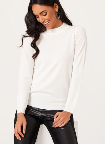 Mock Neck Knit Sweater , White, hi-res