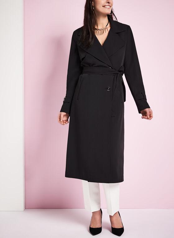 Notch Collar Trench Coat, Black, hi-res