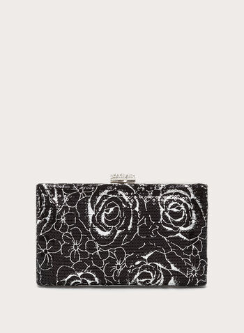 Floral Print Sequin Box Clutch, , hi-res