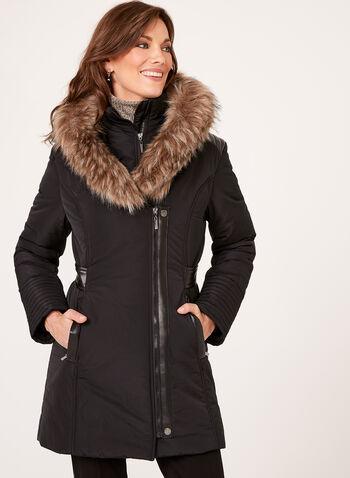 Faux Leather Detail Coat, , hi-res