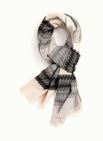 Fringed Stripe Print Scarf , Off White, hi-res