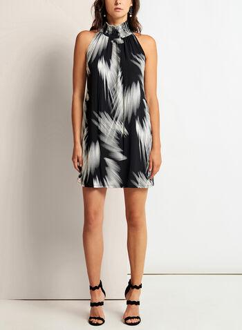 Mock Neck Brushstroke Print Dress, , hi-res