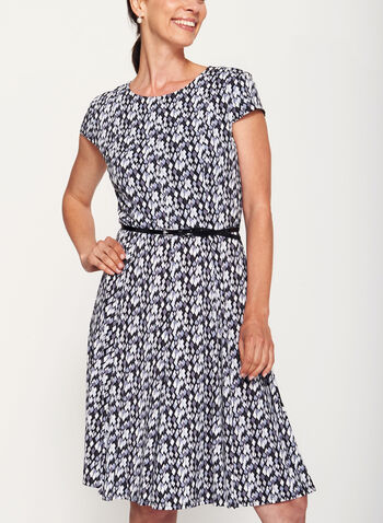 Geometric Print Fit & Flare Dress, , hi-res