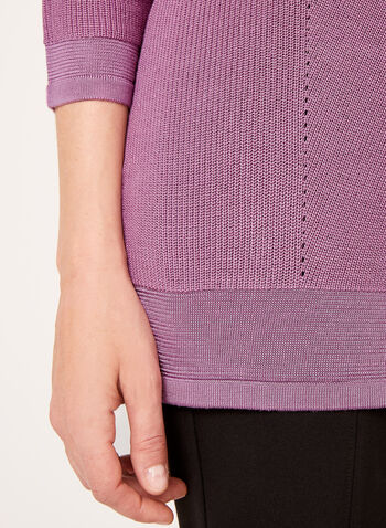 Pull tunique en maille tricotée, Violet, hi-res