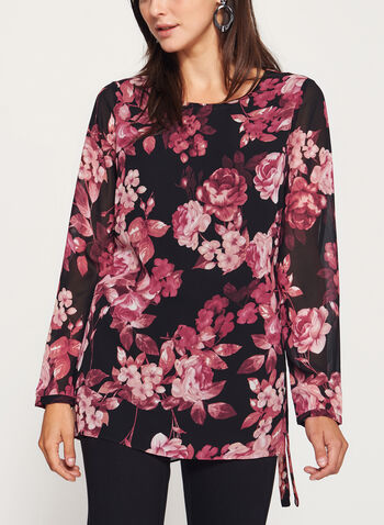 Floral Print Tunic Top, , hi-res