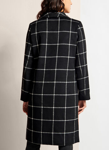Square Print Open Front Coat, , hi-res